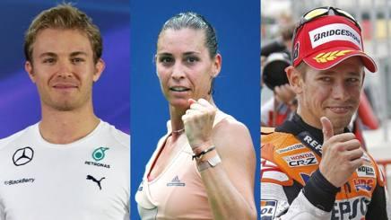 Da sinistra, Nico Rosberg, 31 anni, Flavia Pennetta, 34, e Casey Stoner, 31.