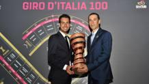 Fabio Aru e Vincenzo Nibali alla presentazione del Giro del centenario. Bettini