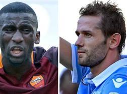 Il difensore della Roma Rudiger e il calciatore della Lazio Lulic. Ansa