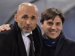 Spalletti e Montella lo scorso febbraio prima di Roma-Sampdoria. Getty