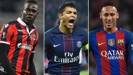 Mario Balotelli, Thiago Silva e Neymar. Gasport