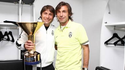 Antonio Conte (a sinistra) e Andrea Pirlo ai tempi della Juventus. Lapresse