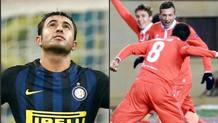 L'esultanza di Eder e dei giocatori viola per i successi di inter e Fiorentina