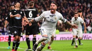 Sergio Ramos festeggia il gol del 3-2 nel recupero. Afp