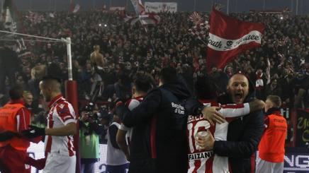 La gioia del Vicenza dopo la vittoria sul Verona. Lapresse