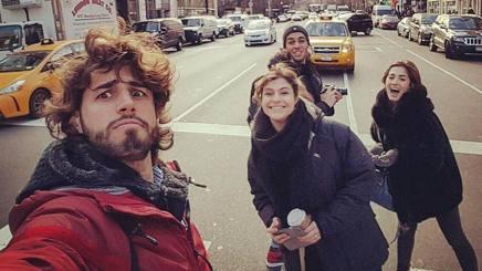 Un selfie newyorkese per Tamberi, Paltrinieri e signore