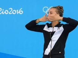 Tania Cagnotto sul podio di Rio 2016. LaPresse