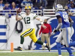 Aaron Rodgers, 33 anni, quarterback di Green Bay, nella gara vinta domenica a Detroit REUTERS