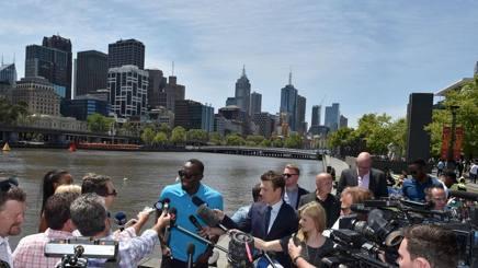 Usain Bolt alla presentazione di Nytro Athletics a Melbourne