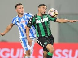Una fase di gioco della partita incriminata, Sassuolo-Pescara. LaPresse
