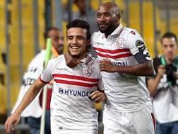 A sinistra, Mostafa Mohamed Fathi Abdel-Hameid, 22 anni, centrocampista dello Zamalek. Epa
