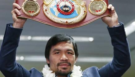 Manny Pacquiao con la cintura dei welter Wbo. Ap