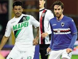 Da sinistra, Stefano Sensi, 21 anni, centrocampista del Sassuolo, e Luca Cigarini, 30, centrocampista della Sampdoria.