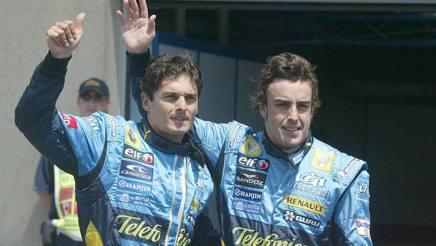 Fernando Alonso con Giancarlo Fisichella alla Renault nel 2006. Colombo