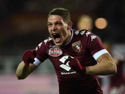 Andrea Belotti esulta dopo il gol del momentaneo vantaggio. Getty