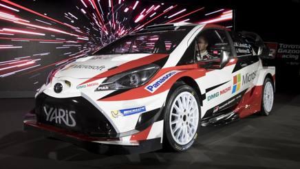 La Yaris WRC 2017 con cui la Toyota fa il suo ritorno nel mondiale rally. LaPresse