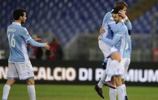 Esultanza Lazio dopo il 2-0. Getty
