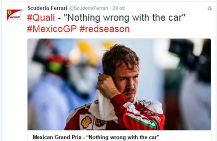 L'account Twitter della Ferrari
