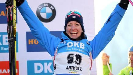 Alexia Runggaldier sul podio di Anterselva. Ansa