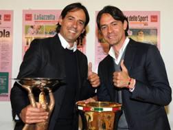 Simone Inzaghi, 40, anni e il fratello Pippo, 43, in un'ospitata in Gazzetta. Bozzani