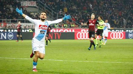 L'esultanza di Lorenzo Insigne, autore del primo gol del Napoli. LaPresse