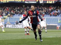 L'esultanza di Giovanni Simeone dopo il gol dell'1-0. Lapresse