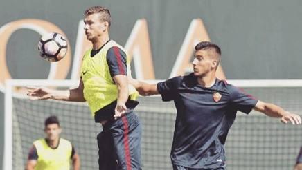 A destra Matias Nani in allenamento. Forza Roma
