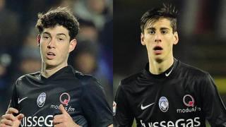 Da sinistra, Alessandro Bastoni, 17 anni, e Filippo Melegoni, 17, dell'Atalanta. Afb