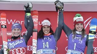 Il podio di Plan de Corones: da sinistra Tessa Worley, Federica Brignone e Marta Bassino. Afp