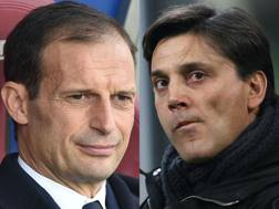 Da sinistra, Massimiliano Allegri, 49 anni, allenatore della Juventus, e Vincenzo Montella, 42, tecnico del Milan.