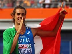 L'esultanza di Gianmarco Tamberi dopo l'oro europeo di luglio ad Amsterdam. Getty
