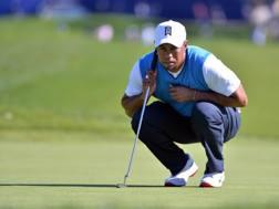 Tiger Woods osserva la pallina perplesso