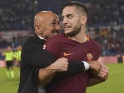 Da sinistra, Luciano Spalletti, 57 anni, allenatore della Roma, e Kostas Manolas, 25, difensore greco.Getty Images