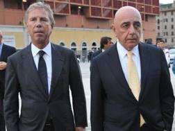 Da sinistra, Enrico Preziosi, 68 anni, presidente del Genoa, e Adriano Galliani, 72, a.d. del Milan. Ansa