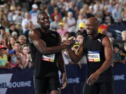 Usain Bolt e Asafa Powellprotagonisti a Melbourne. Epa