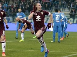 Andrea Belotti, 23 anni, festeggia il suo quindicesimo gol in campionato. Getty