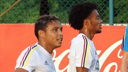 Luis Muriel e Juan Cuadrado nel ritiro della nazionale colombiana. Epa