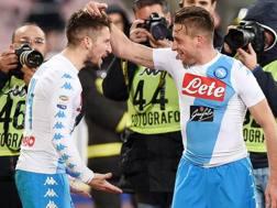 Dries Mertens firma l'assist per Giaccherini che segna il suo primo gol col Napoli. Getty
