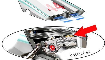 Nel disegno di Filisetti la sospensione anteriore della Mercedes