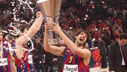 Gianluca Basile festeggia il trionfo europeo col Barcellona nel 2010. CiamCast