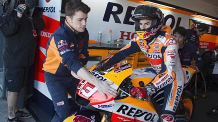 Marc Marquez sulla sua Honda in Australia. Getty