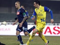Gennaro Sardo segna il gol del 2-0 in Chievo-Napoli del campionato 2010-2011. Ansa
