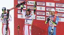 Il podio del gigante: da sinistra Letinger (argento), Hirscher (oro) e il norvegese Haugen (bronzo). Epa