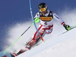 Marcel Hirscher in azione a St. Moritz. Ap
