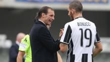 Massimiliano Allegri e Leonardo Bonucci. Ansa