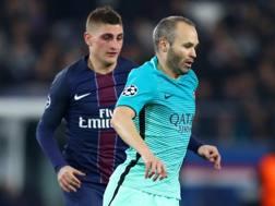 Da sinistra, Marco Verratti, 24 anni, centrocampista del Psg, e Andrés Iniesta Luján, 32, del Barcellona. Getty Images