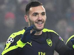 Lucas Perez, attaccante dell'Arsenal. Afp