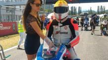 Stefano Togni in sella alla sua Yamaha prima di una gara