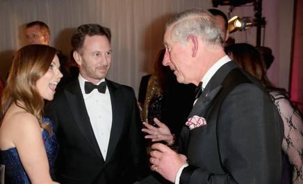 Christian Horner con la moglie  Geri Halliwell  e il Principe Carlo d'Inghilterra GETTY
