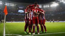 La festa dei giocatori dell'Atletico Madrid. Reuters